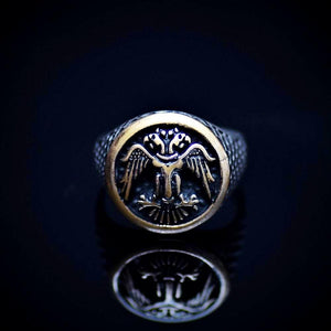 Silver Ring Engraved Two-Headed Eagle Symbol Front