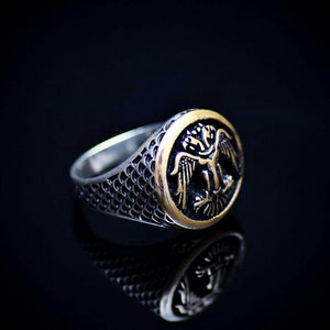 Silver Ring Engraved Two-Headed Eagle Symbol Left