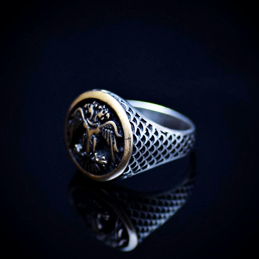 Silver Ring Engraved Two-Headed Eagle Symbol Right