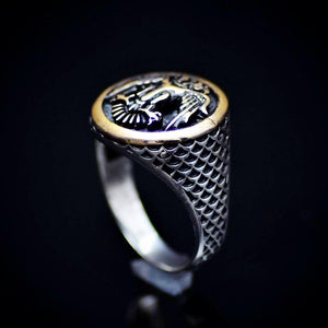 Silver Ring Engraved Two-Headed Eagle Symbol