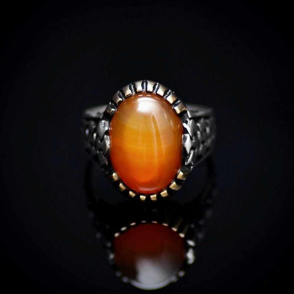 Silver Ring For Men With Honey Agate And Carved Tulip Details Front