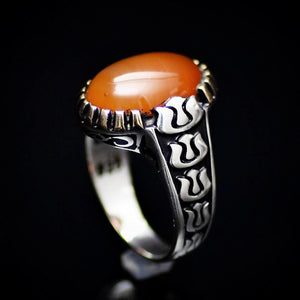 Silver Ring For Men With Honey Agate And Carved Tulip Details