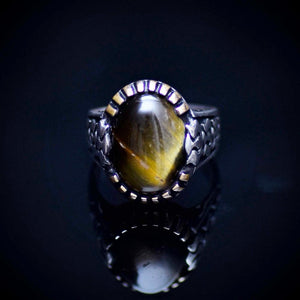 Silver Ring With Natural Tiger Eye Stone And Carved Tulip Details Front