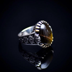 Silver Ring With Natural Tiger Eye Stone And Carved Tulip Details Left