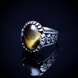 Silver Ring With Natural Tiger Eye Stone And Carved Tulip Details Right