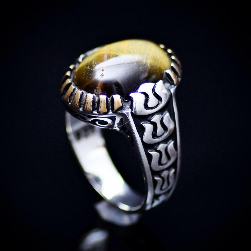 Silver Ring With Natural Tiger Eye Stone And Carved Tulip Details