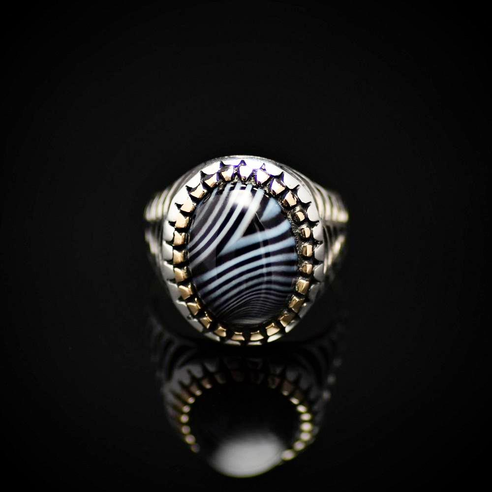 Silver Ring With Striped Agate Stone And Engraved Spider Web Motif Front