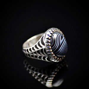 Silver Ring With Striped Agate Stone And Engraved Spider Web Motif Left