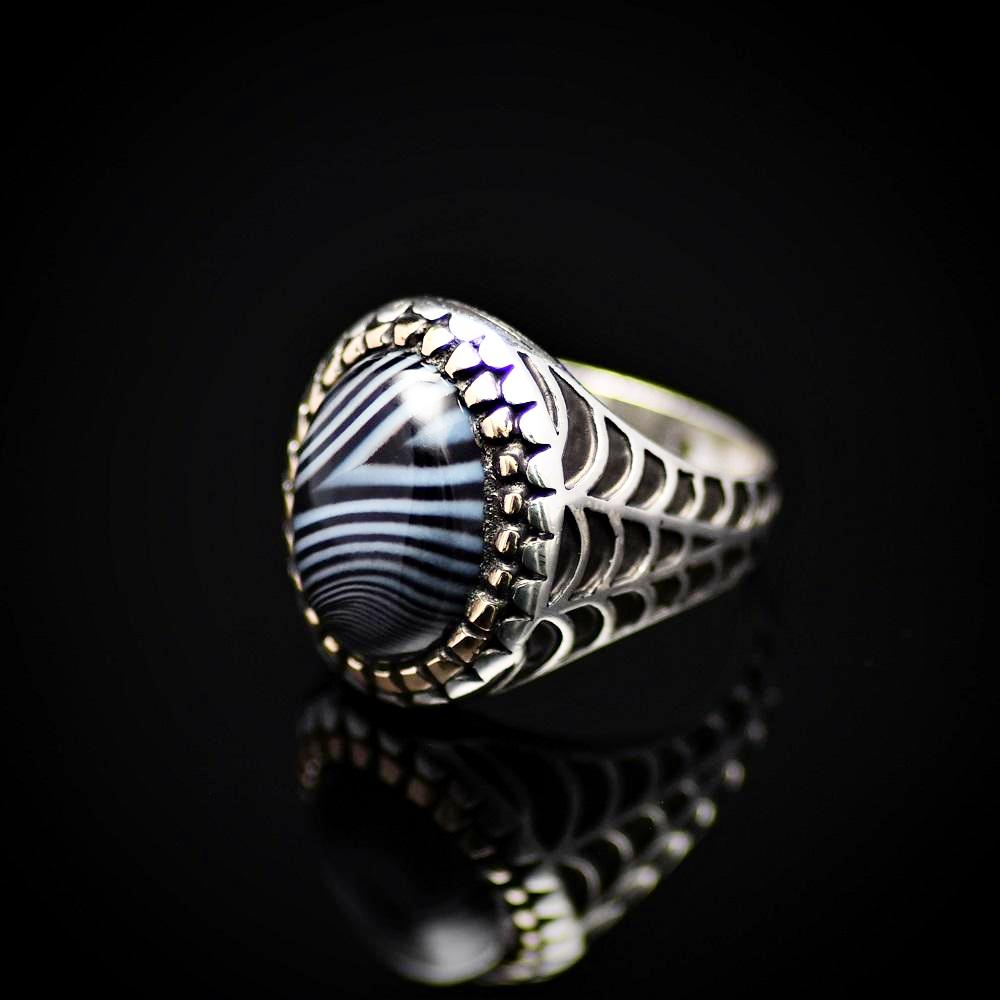 Silver Ring With Striped Agate Stone And Engraved Spider Web Motif Right