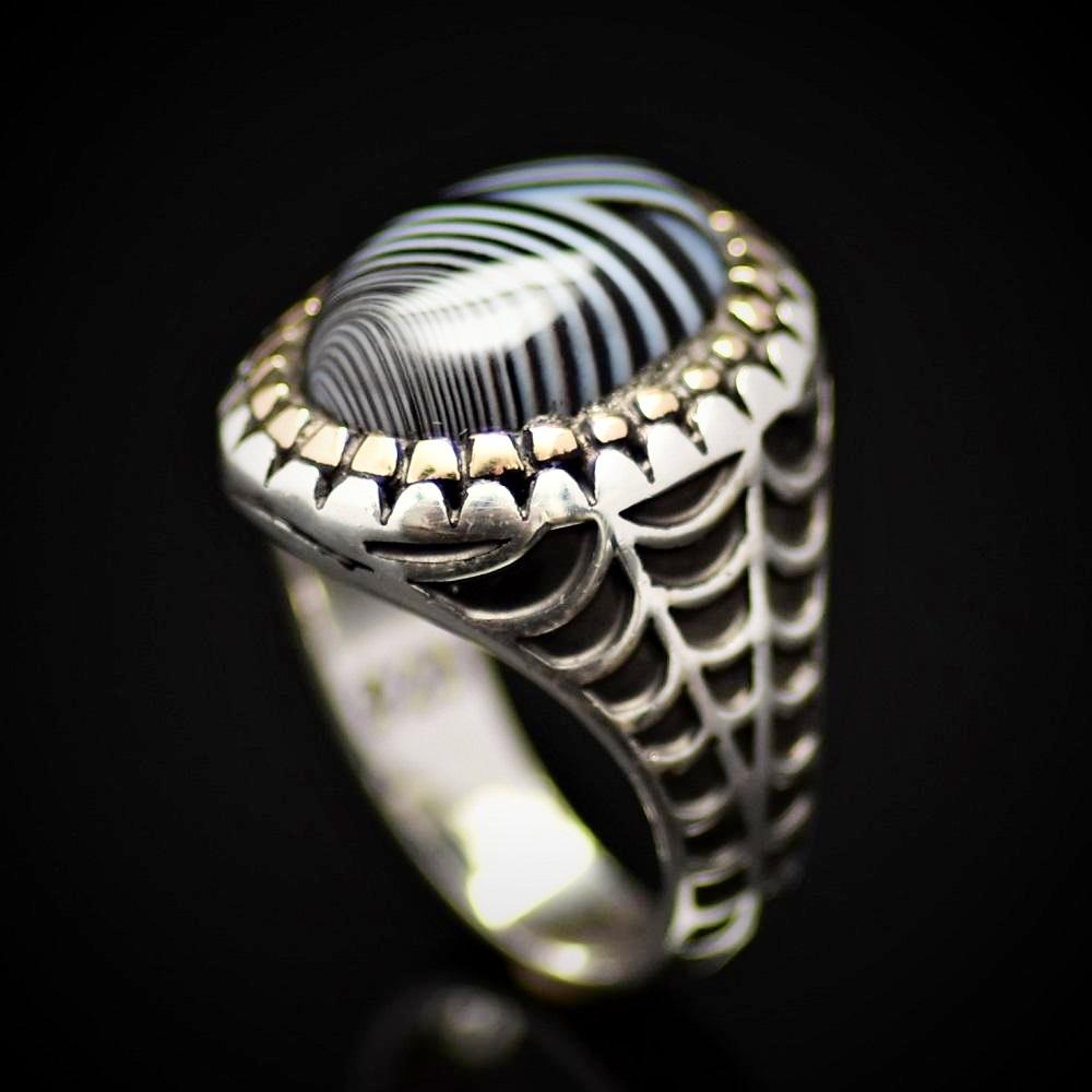 Silver Ring With Striped Agate Stone And Engraved Spider Web Motif