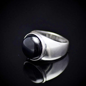 Simple And Beautiful Rhodium Plated Silver Ring With Black Agate Stone Right