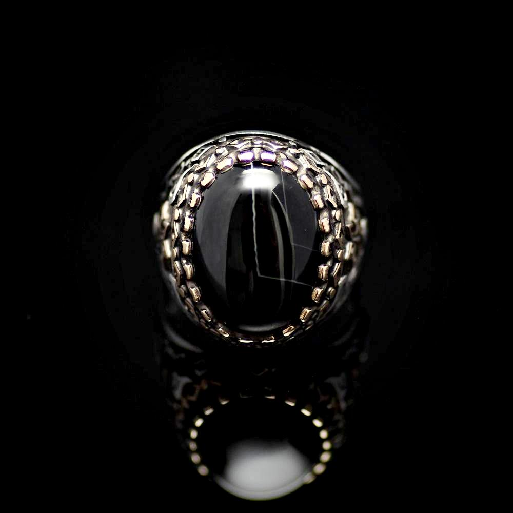 Six Fold Star Patterned Silver Ring Adorned With Agate Stone Front