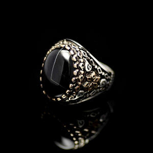 Six Fold Star Patterned Silver Ring Adorned With Agate Stone Right