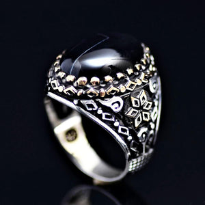 Six Fold Star Patterned Silver Ring Adorned With Agate Stone
