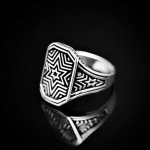 Six Point Star Engraved Silver Ring Right
