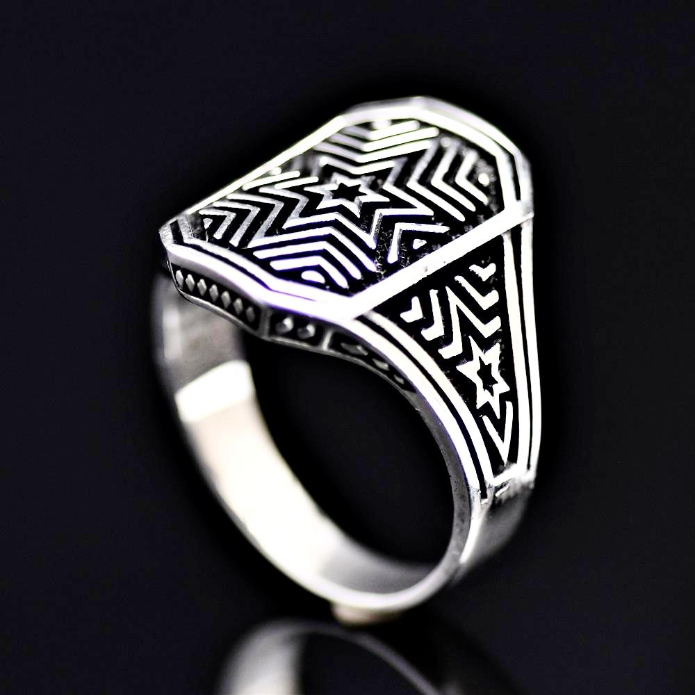 Six Point Star Engraved Silver Ring