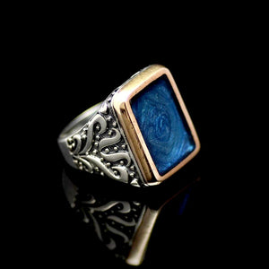 Sophisticated Silver Ring Adorned With Blue Enamel Left