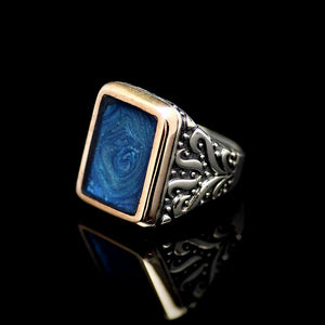 Sophisticated Silver Ring Adorned With Blue Enamel Right