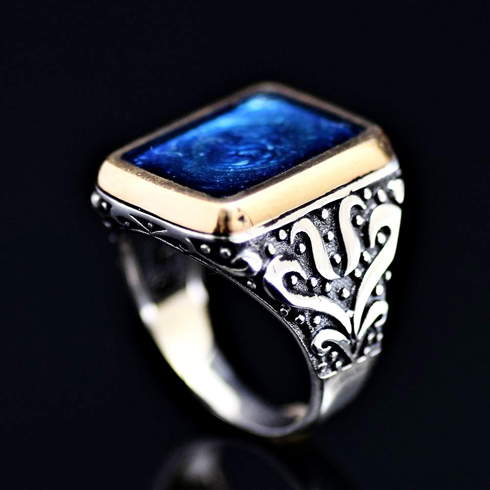 Sophisticated Silver Ring Adorned With Blue Enamel