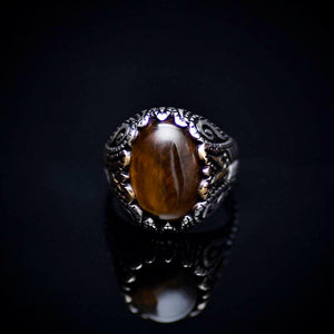 Spectacular 925 Sterling Silver Ring With Tiger Eye Stone Front
