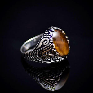 Spectacular 925 Sterling Silver Ring With Tiger Eye Stone Left