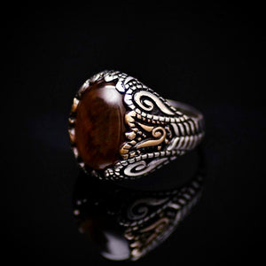Spectacular 925 Sterling Silver Ring With Tiger Eye Stone Right