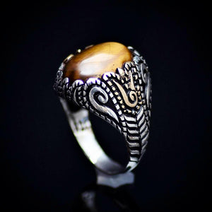 Spectacular 925 Sterling Silver Ring With Tiger Eye Stone
