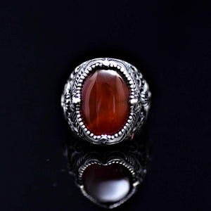 Spectacular Silver Ring Adorned With Waw Letter And Agate Stone Front