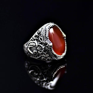 Spectacular Silver Ring Adorned With Waw Letter And Agate Stone Left