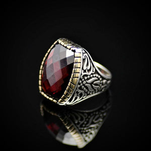 Striking 925 Sterling Silver Ring Embellished With Garnet Stone Right