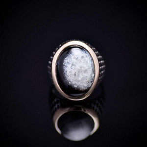 Striking Men's Silver Jewelry With Druzy Agate Stone Front