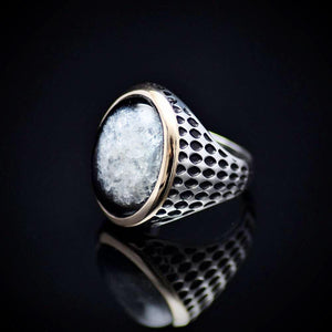 Striking Men's Silver Jewelry With Druzy Agate Stone Right
