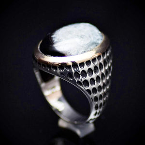 Striking Men's Silver Jewelry With Druzy Agate Stone