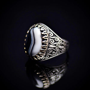 Stunning Handmade Silver Ring With Black And White Banded Agate Right