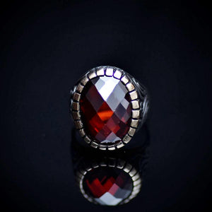 Stunning Silver Ring With A Big Facet Cut Garnet Stone Front