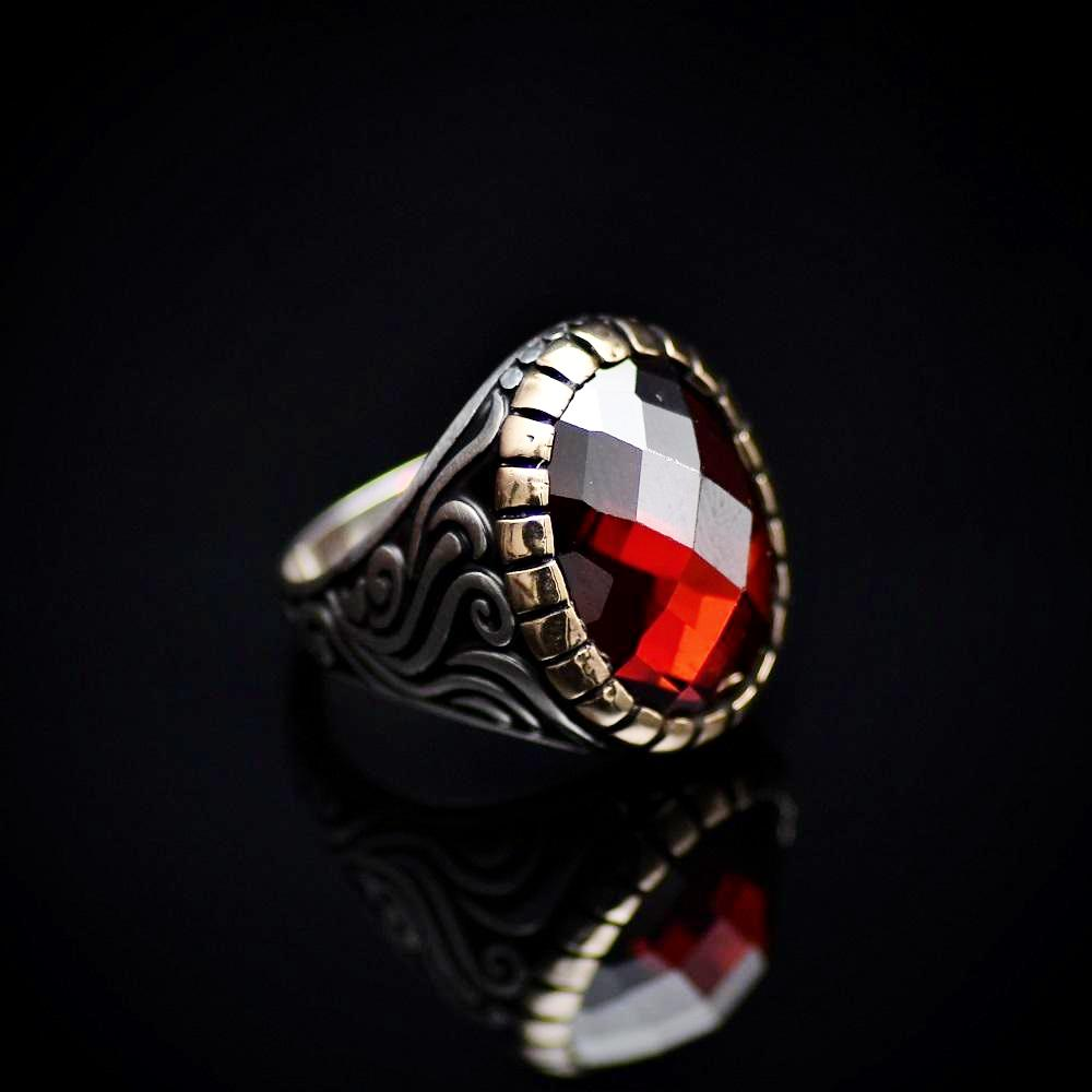 Stunning Silver Ring With A Big Facet Cut Garnet Stone Left
