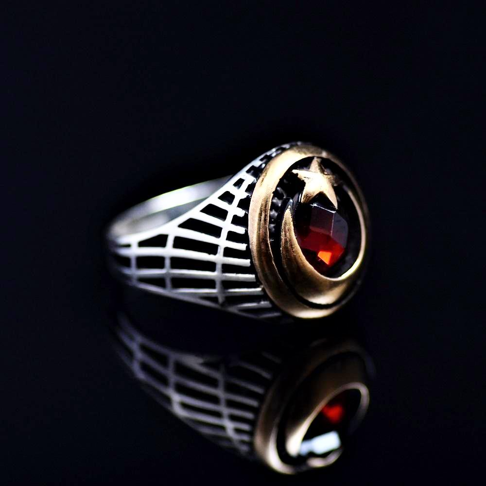 The Star And Crescent Silver Ring Adorned With Garnet Stone Left