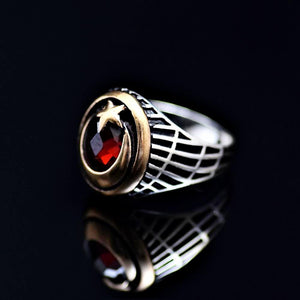 The Star And Crescent Silver Ring Adorned With Garnet Stone Right