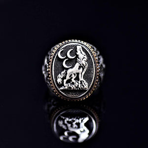 The Wolf And Three Crescents Silver Ring Front