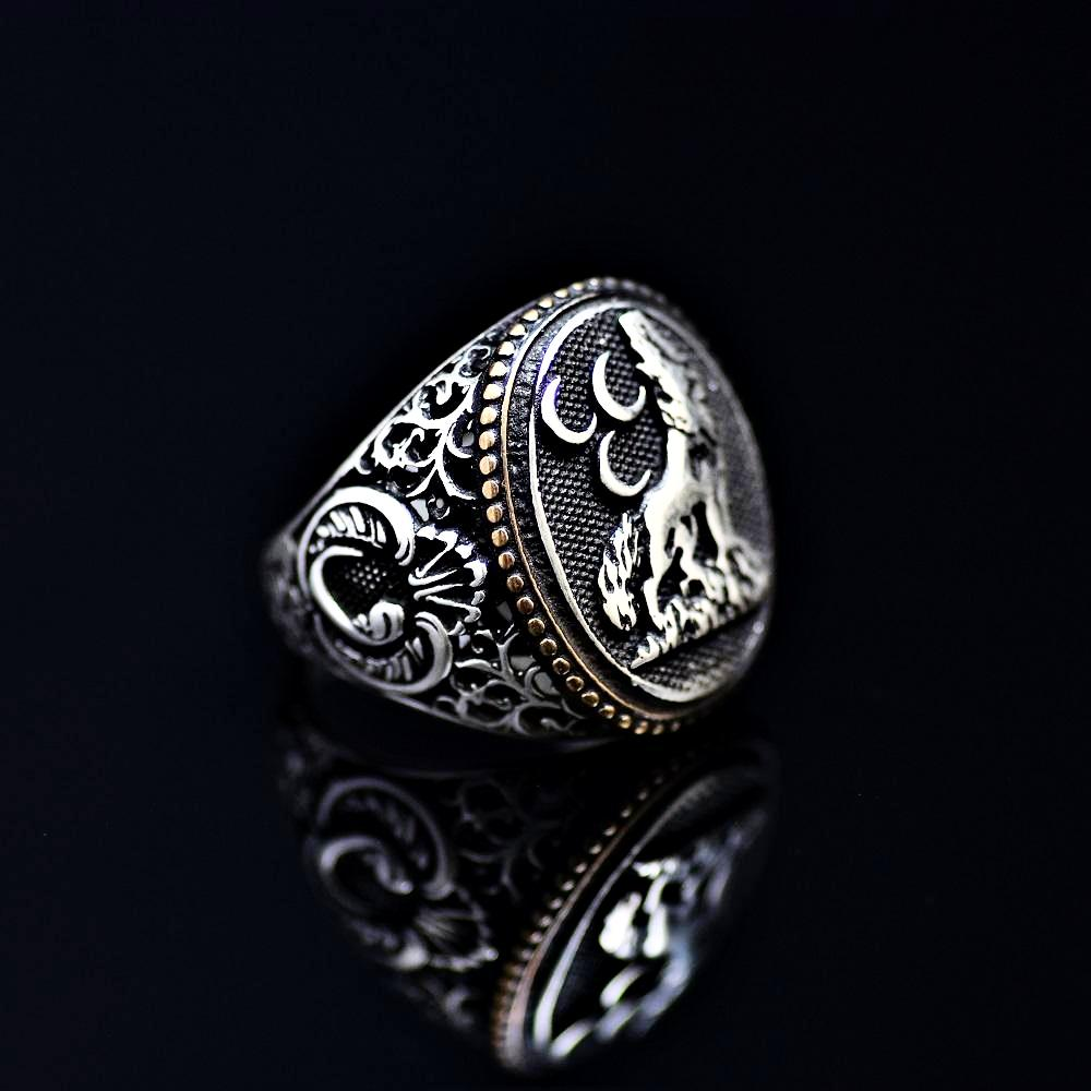 The Wolf And Three Crescents Silver Ring Left