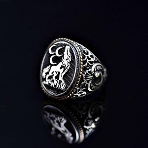 The Wolf And Three Crescents Silver Ring Right