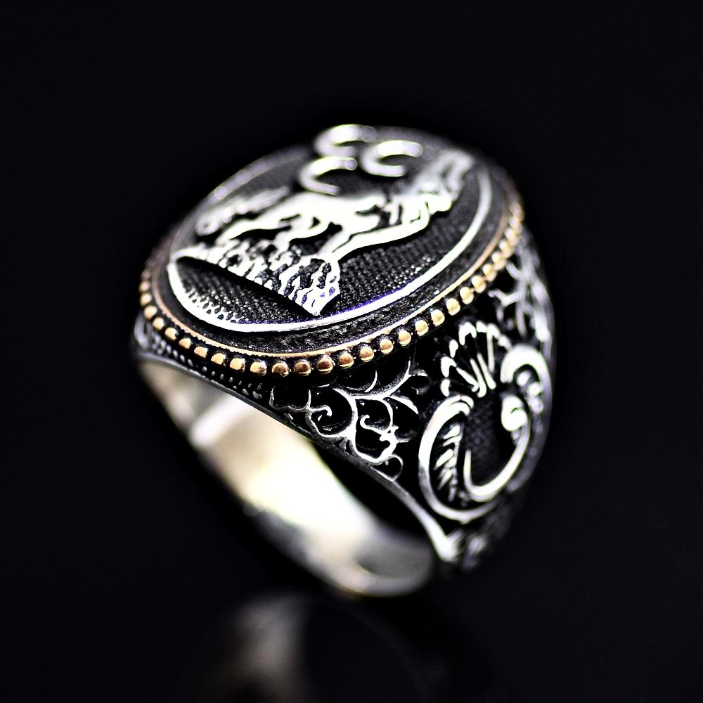 The Wolf And Three Crescents Silver Ring