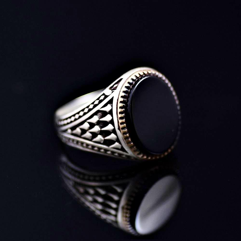 Timeless Turkish Design Silver Ring Adorned With Black Onyx Stone Left