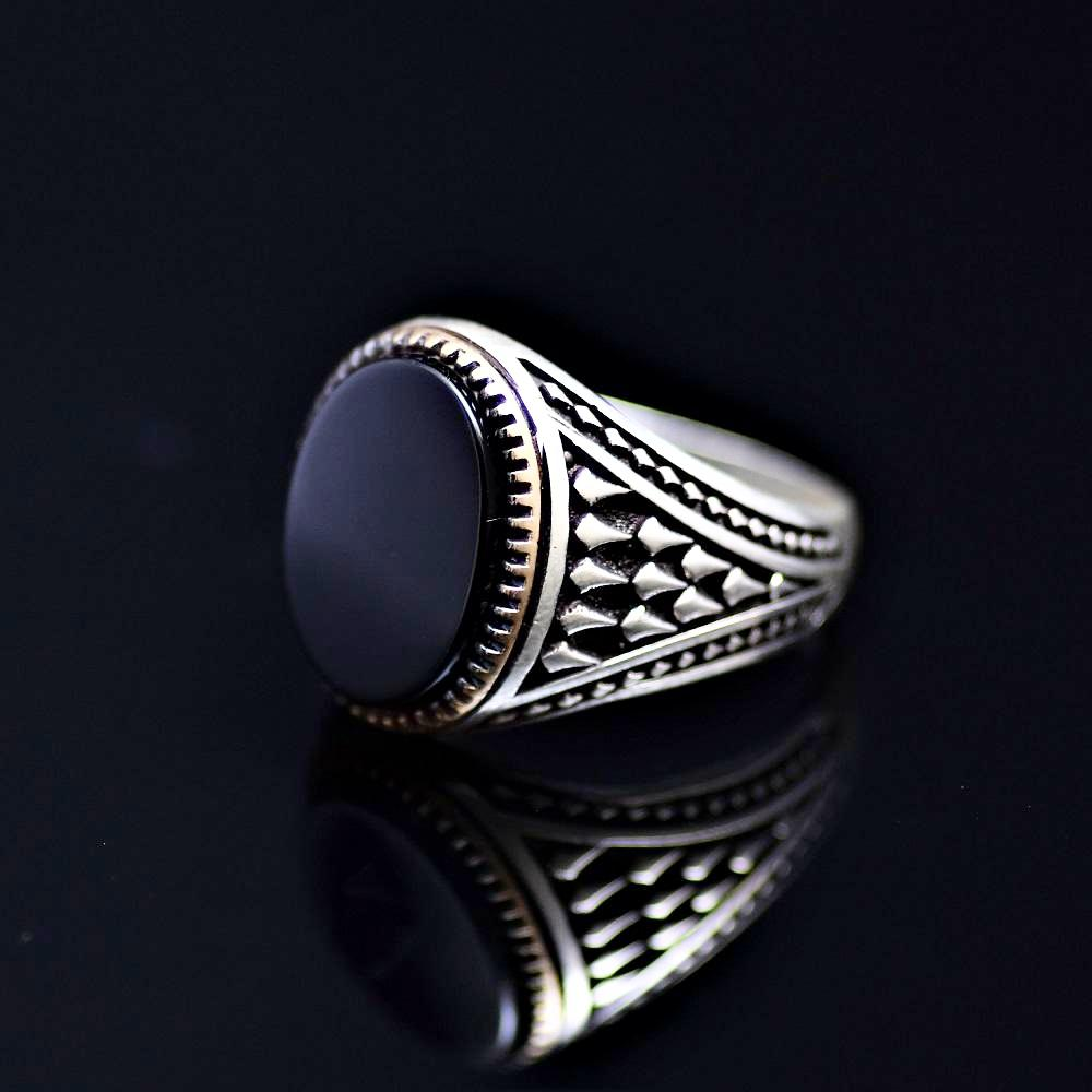 Timeless Turkish Design Silver Ring Adorned With Black Onyx Stone Right