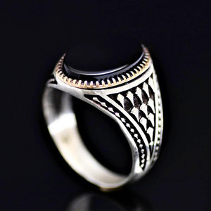 Timeless Turkish Design Silver Ring Adorned With Black Onyx Stone