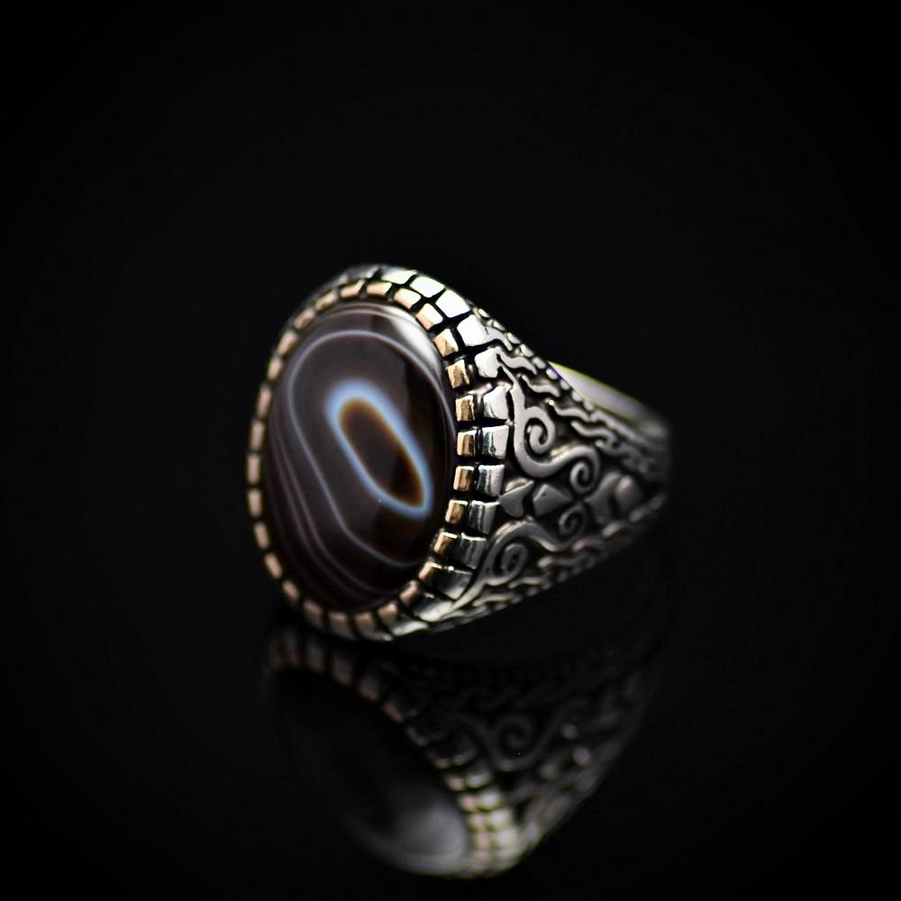 Top Of The Line Silver Ring Adorned With Black Banded Agate Stone Right