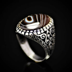 Top Of The Line Silver Ring Adorned With Black Banded Agate Stone