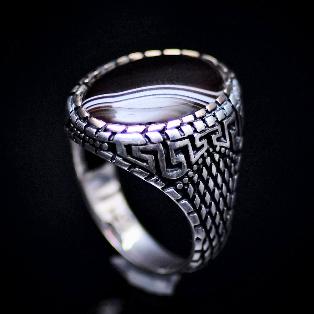 Traditional Turkish Silver Ring For Men With Banded Agate Stone