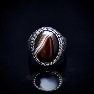 Traditional Turkish Silver Ring For Men With Banded Agate Stone Front