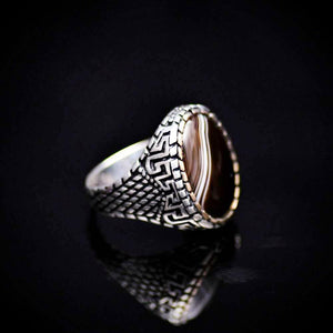 Traditional Turkish Silver Ring For Men With Banded Agate Stone Left